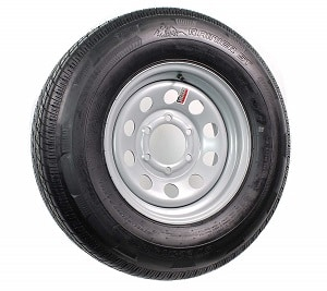 Silver Mod Trailer Wheel with Radial Tire